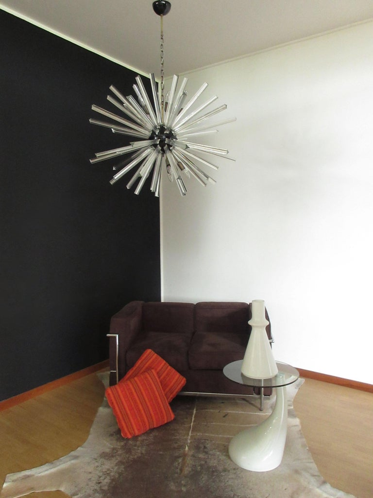 Late 20th Century Crystal Prism Sputnik Chandeliers, 50 Prisms, Italy, Murano