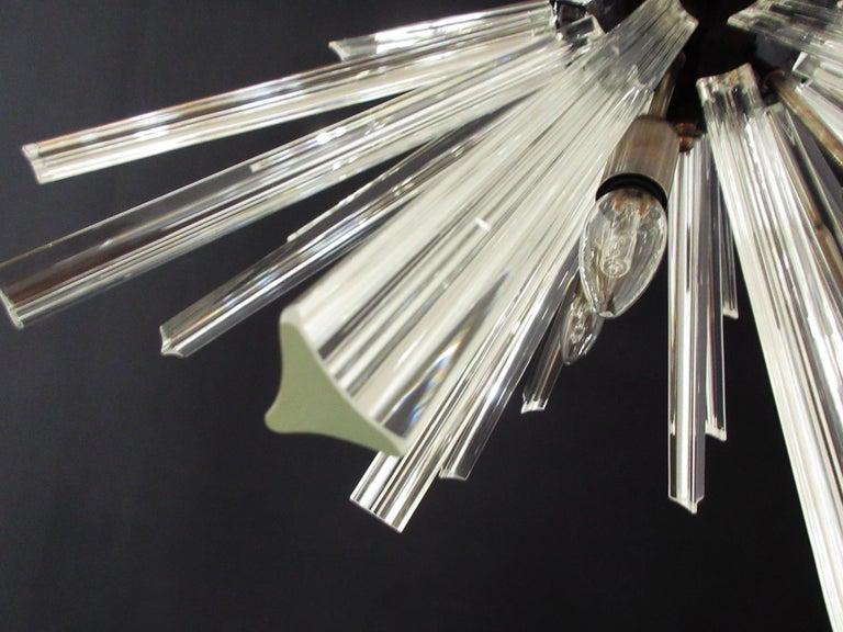 Blown Glass Crystal Prism Sputnik Chandeliers, 50 Prisms, Italy, Murano