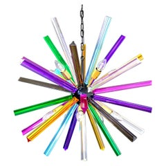 Crystal Prism Sputnik Chandeliers, Multicolor Glasses, Mariangela Model