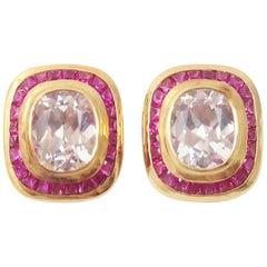 Crystal Quartz with Ruby Earrings Set in 18 Karat Gold Settings