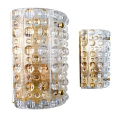 Crystal Sconces 'Pair' Wall Lamps by Carl Fagerlund for Orrefors in the 1960s