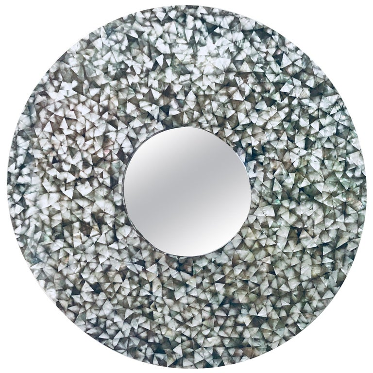 479c9f8f4feb5 'Crystal Sea' Large Convex Round Mirror with Black Mother of Pearl Frame
