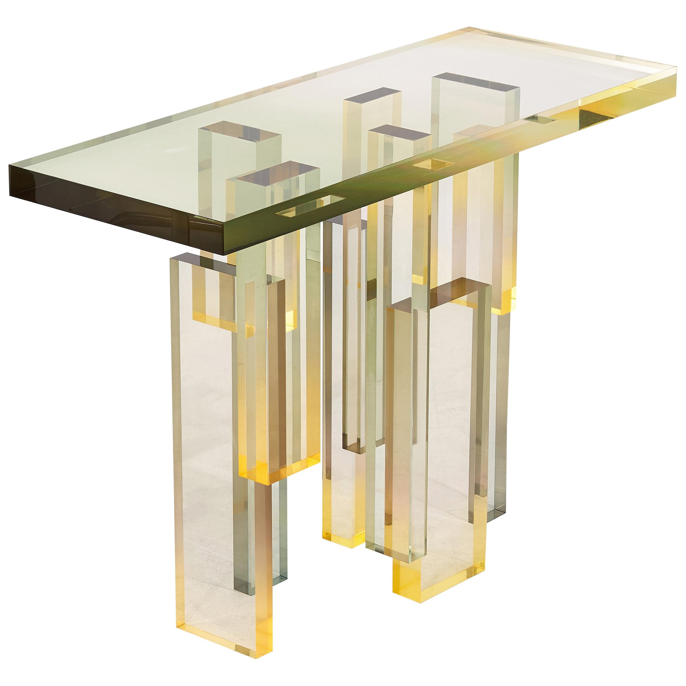Crystal Series Console Table 02 Acrylic in Transparent Yellow Customized