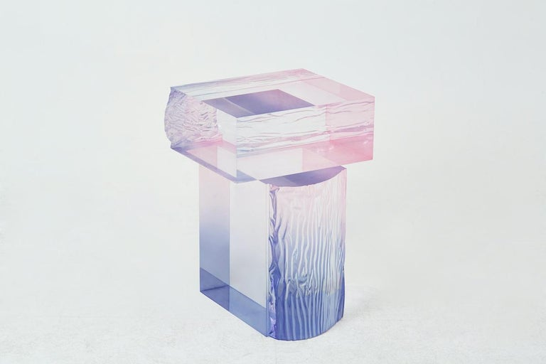 Crystal Series Raw Side Edition Acrylic Table, Pink/ Blue Ombre/ Transparent In New Condition For Sale In Los Angeles, CA