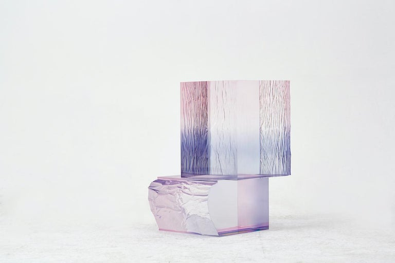 Contemporary Crystal Series Raw Side Edition Acrylic Table, Pink/ Blue Ombre/ Transparent For Sale