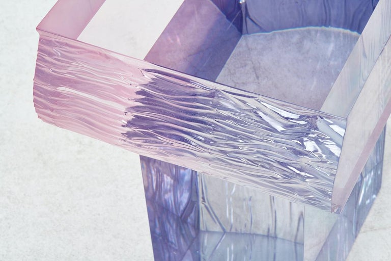 Crystal Series Raw Side Edition Acrylic Table, Pink/ Blue Ombre/ Transparent For Sale 1