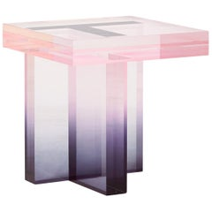 Crystal Series Table 01 Acrylic in Transparent Pink and Blue Customized
