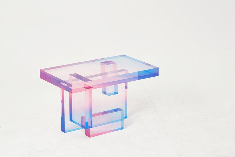 Crystal Series Table 04 Acrylic in Transparent Yellow Customized In New Condition For Sale In Los Angeles, CA