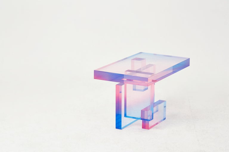 Contemporary Crystal Series Table 04 Acrylic in Transparent Yellow Customized For Sale