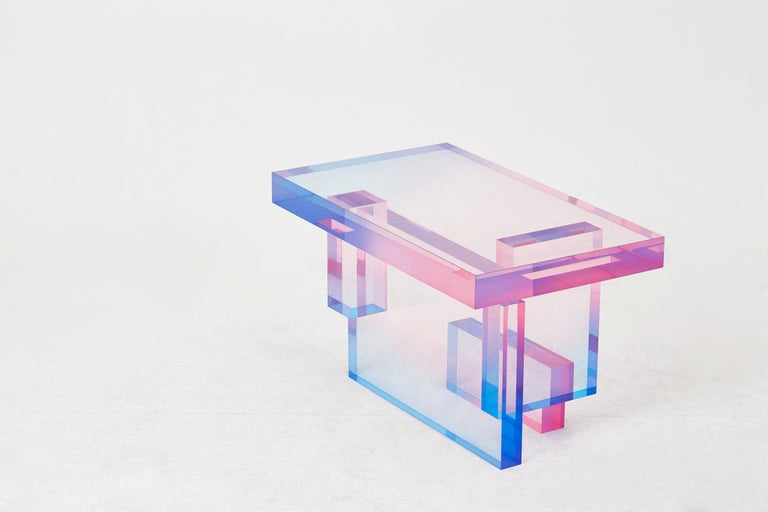 Crystal Series Table 04 Acrylic in Transparent Yellow Customized For Sale 1