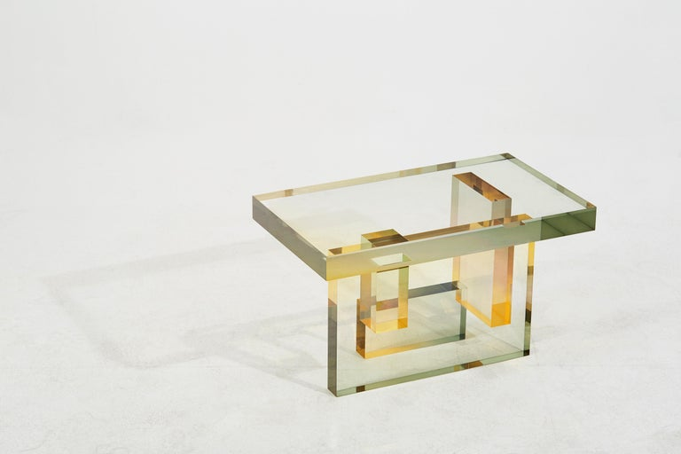 Crystal Series Table 04 Acrylic in Transparent Yellow Customized For Sale 3