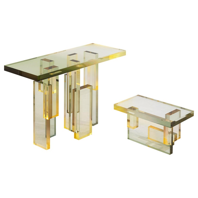 Crystal Series Table 04 Acrylic in Transparent Yellow Customized For Sale
