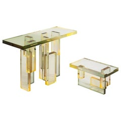 Crystal Series Table 04 Acrylic in Transparent Yellow Customized