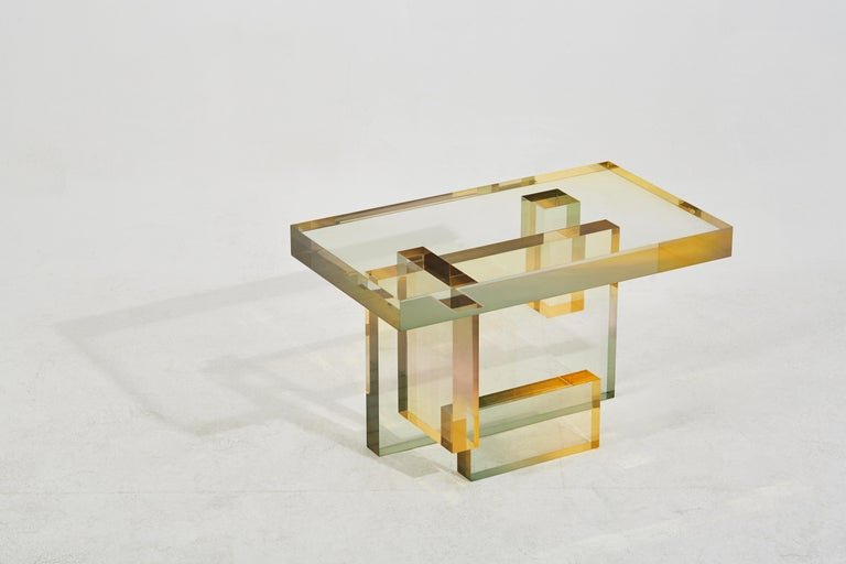 Crystal Series Table-04  acrylic in transparent yellow/pink&blue customized In New Condition For Sale In Beverly Hills, CA
