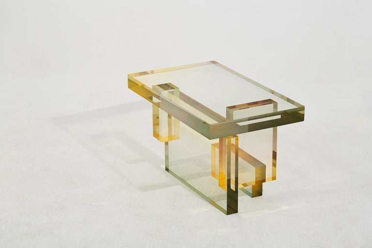 Contemporary Crystal Series Table-04  acrylic in transparent yellow/pink&blue customized For Sale