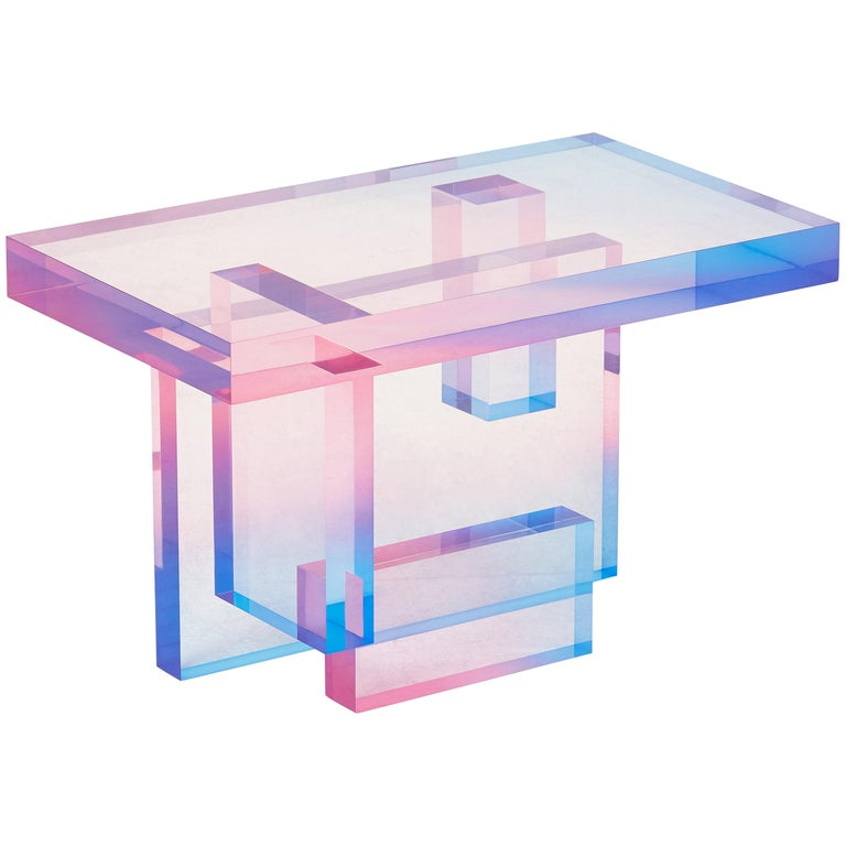 Crystal Series Table-04  acrylic in transparent yellow/pink&blue customized For Sale