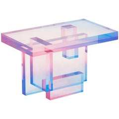 Crystal Series Table-04 Acrylic in Transparent Yellow/Pink and Blue Customized