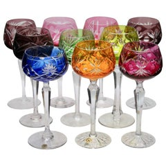 Crystal Set of 10 Lausitzer Stem Glasses with Colored Overlay Cut to Clear