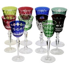 Crystal Set of 10 Mixed Stem Glasses with Colored Overlay Cut to Clear