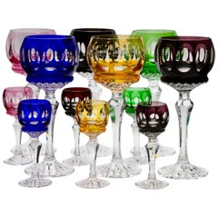 Crystal Set of 12 Matching Stem Glasses with Colored Overlay Cut to Clear