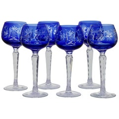Crystal Set of 6 Nachtmann Stem Glasses with Cobalt blue Overlay Cut to Clear