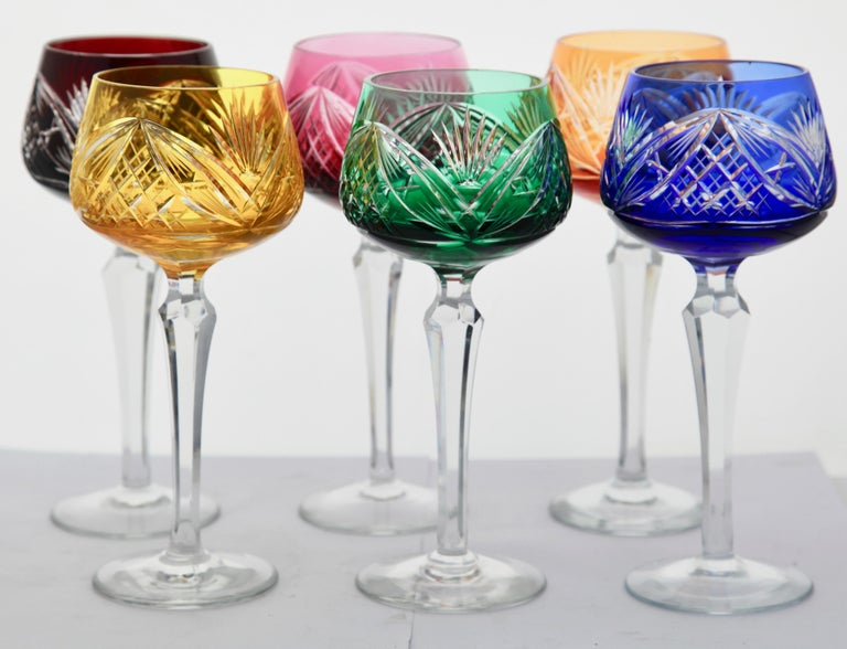 Crystal Set of 6 Nachtmann Stem Glasses with Overlay Cut to Clear 3
