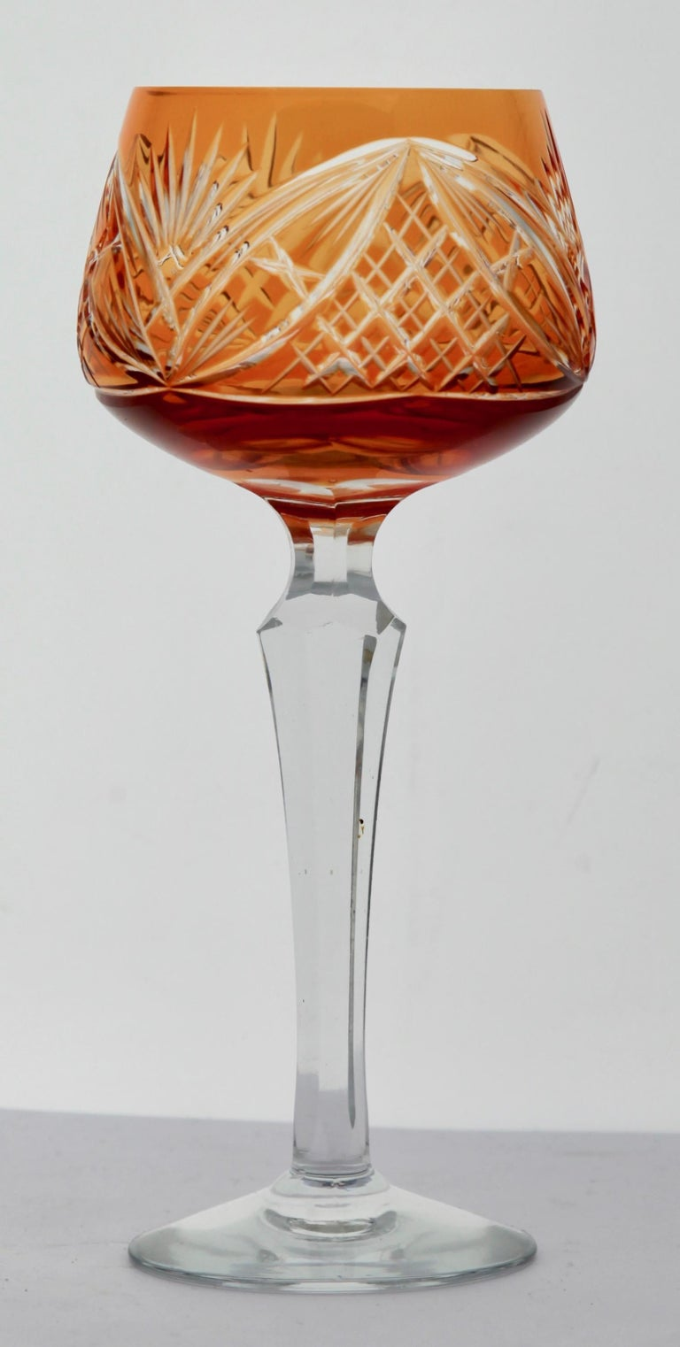 Crystal Set of 6 Nachtmann Stem Glasses with Overlay Cut to Clear In Good Condition In Verviers, BE