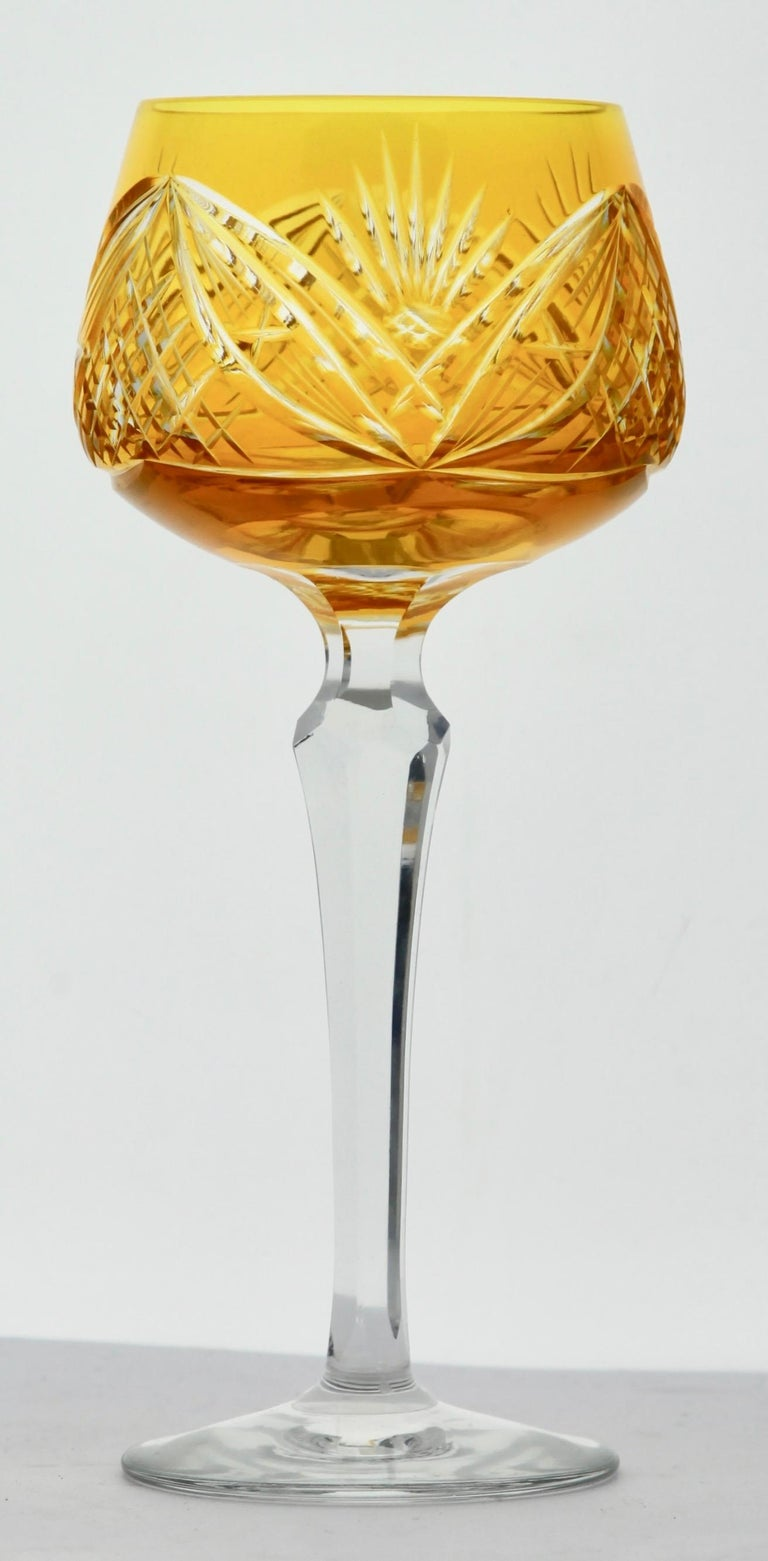Crystal Set of 6 Nachtmann Stem Glasses with Overlay Cut to Clear 1