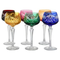 Crystal Set of 6 Nachtmann Stem Glasses with Overlay Cut to Clear