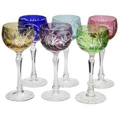 Kristall Set aus Sechs Lausitzer Stem Gläsern mit Farbigem Overlay