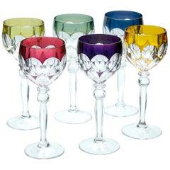 Crystal Set of Six Lausitzer Stem Glasses with Colored Overlay Cut to Clear
