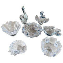 Crystal Small Dishes or Ashtrays, a Set of 7