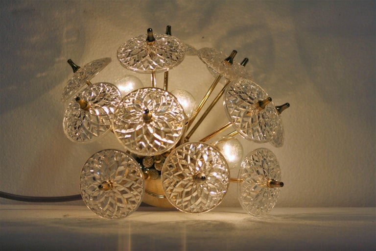 Crystal Sputnik Wall Light or Flush Mount, 1960s In Good Condition For Sale In Sint Joris Weert, BE
