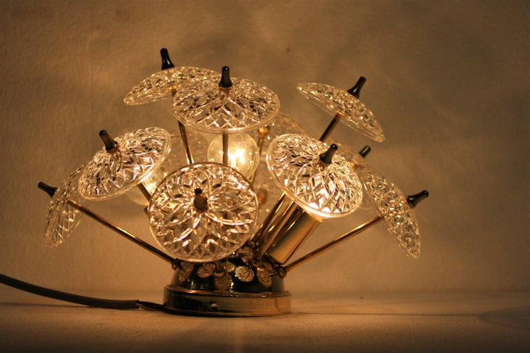 Mid-20th Century Crystal Sputnik Wall Light or Flush Mount, 1960s For Sale