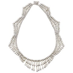 Crystal Sterling Silver Wave Bib Statement Necklace
