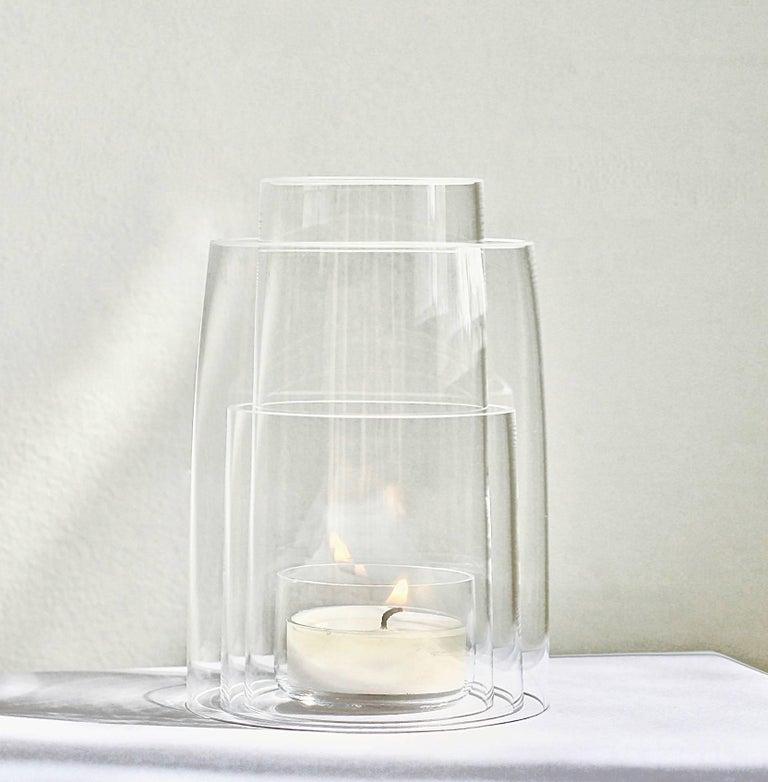 Minimalist Crystal Tea Light Hurricane Lantern by Deborah Ehrlich For Sale