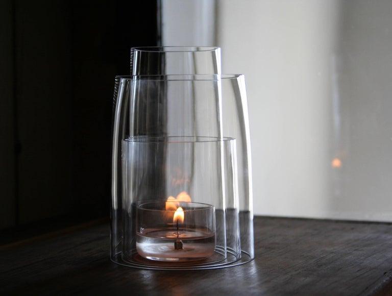 American Crystal Tea Light Hurricane Lantern by Deborah Ehrlich For Sale