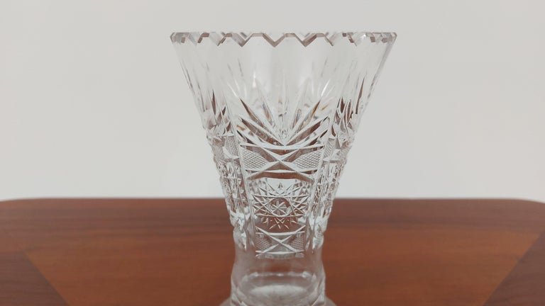 Other Crystal Vase, Poland, 1970s For Sale