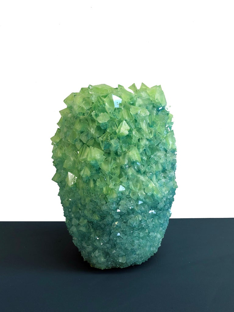 Baroque Crystal Vase Teal Large 1 by Isaac Monte For Sale