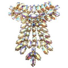 Crystal Vintage Brooch Cascading Opaline Aurora Borealis 1950S