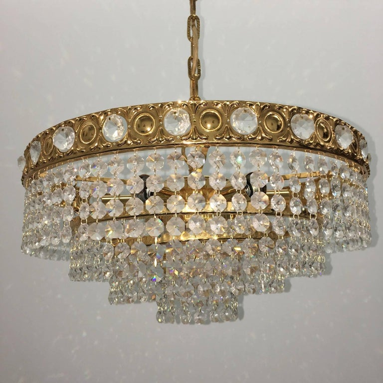 Crystal Waterfall Chandelier by Soelken Leuchten, Germany In Distressed Condition For Sale In Frisco, TX