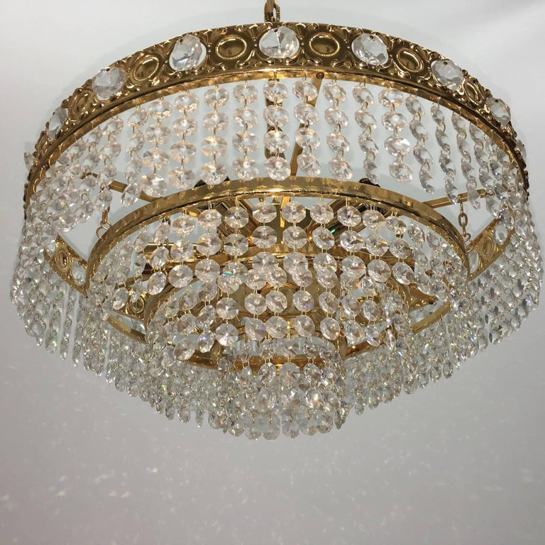 Mid-20th Century Crystal Waterfall Chandelier by Soelken Leuchten, Germany For Sale