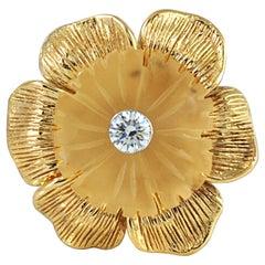 Carve Quartz with Diamond Flower Rings Set in 18 Karat Gold Settings