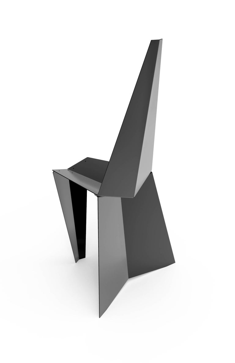 Minimalist Contemporary Crystallized Chair in Blackened Steel For Sale