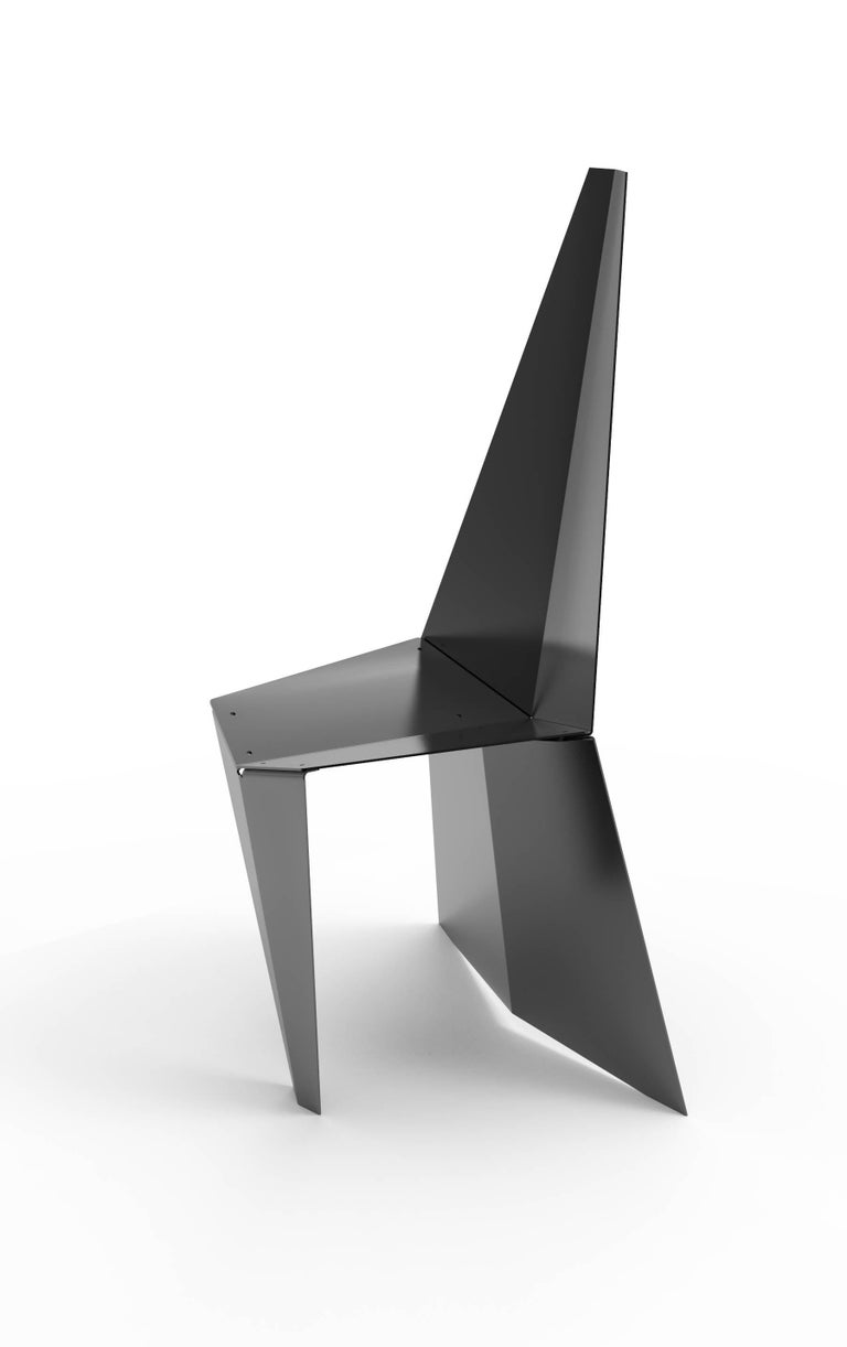 American Contemporary Crystallized Chair in Blackened Steel For Sale