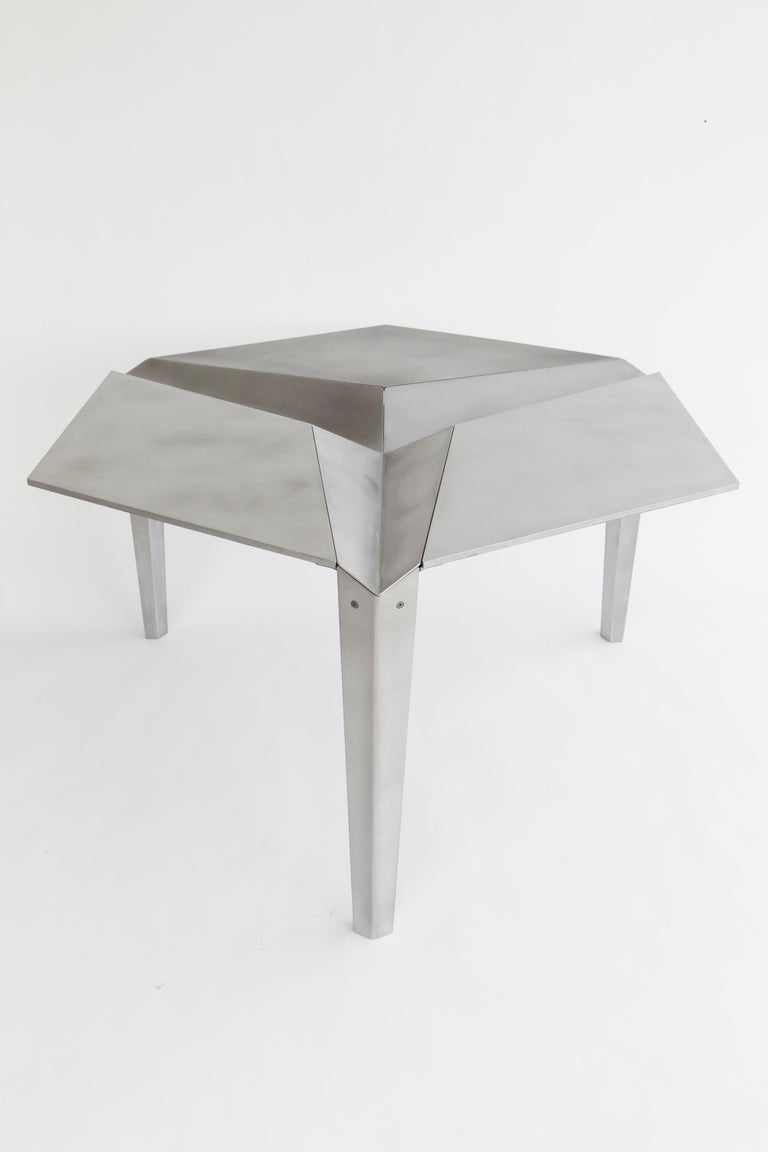 Modern Crystallized Three-Legged Recycled Metal Dining Table, Removable Serving Trays For Sale