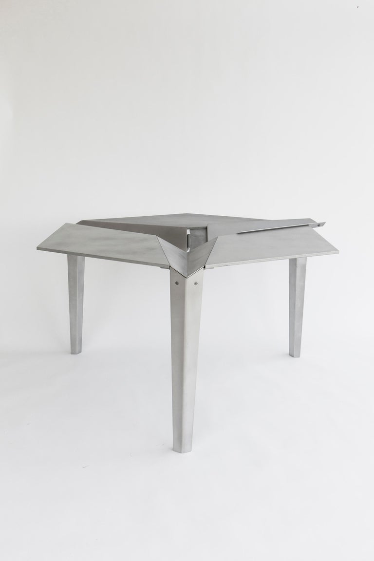 American Crystallized Three-Legged Recycled Metal Dining Table, Removable Serving Trays For Sale