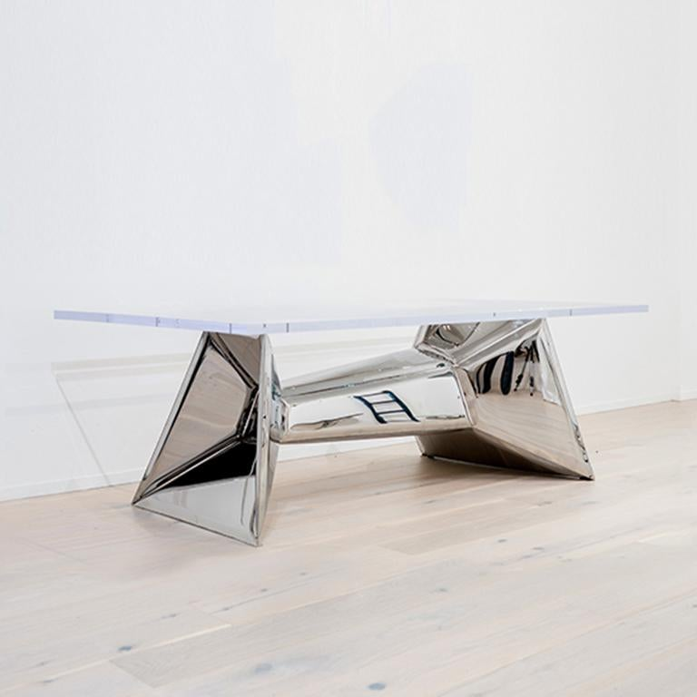 Minimalist Crystals Table by Zieta Prozessdesign 'Stainless steel and Acrylic' For Sale