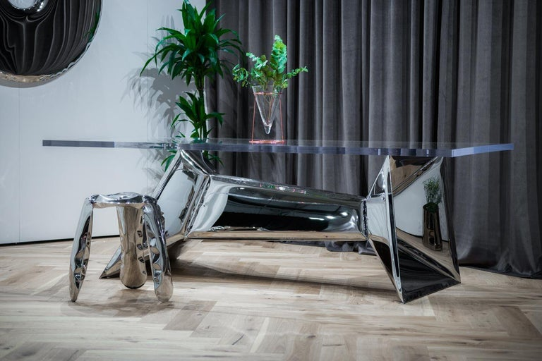 Polish Crystals Table by Zieta Prozessdesign 'Stainless steel and Acrylic' For Sale