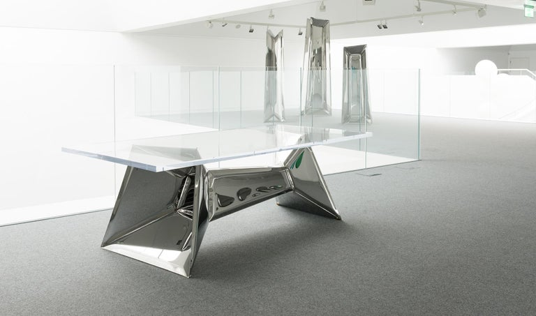 Contemporary Crystals Table by Zieta Prozessdesign 'Stainless steel and Acrylic' For Sale
